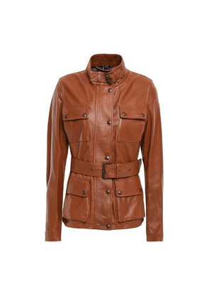 Belstaff Belted Leather Jacket Woman Tan Size 38