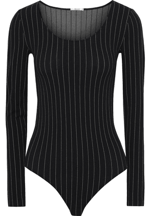 Wolford Muriel Pinstriped Stretch-jersey Thong Bodysuit Woman Black Size L