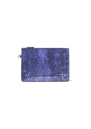 Jérôme Dreyfuss Metallic Cracked-leather Pouch Woman Indigo Size --