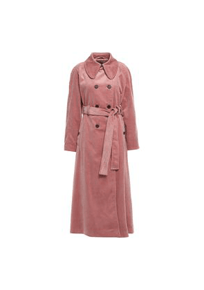 Alexachung Double-breasted Cotton-corduroy Trench Coat Woman Antique rose Size 12
