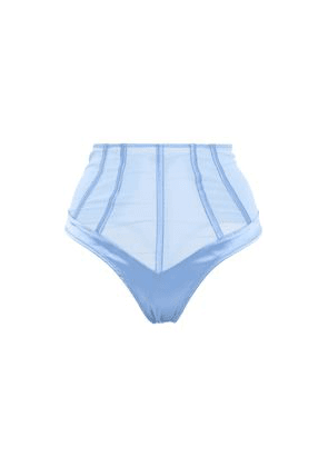 Kiki De Montparnasse Paneled Stretch-silk Satin And Tulle High-rise Thong Woman Light blue Size M