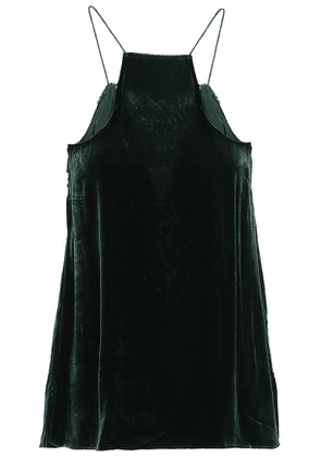 Cami Nyc The Charlie Lace-trimmed Velvet Camisole Woman Dark green Size XS
