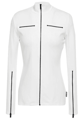 Proenza Schouler Pswl Zip-detailed Stretch-cotton Jersey Jacket Woman Ivory Size XS
