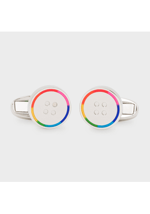 Men's Multi-Coloured Edge Button Cufflinks