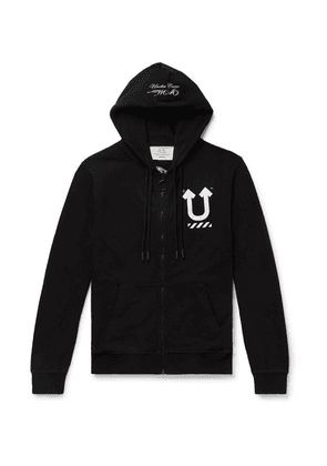 Off-White - + Undercover Reversible Logo-print Loopback Cotton-jersey Hoodie - Black