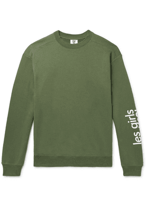 Les Girls Les Boys - Logo-print Loopback Cotton-jersey Sweatshirt - Army green