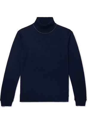 PS Paul Smith - Slim-fit Contrast-tipped Merino Wool Rollneck Sweater - Navy
