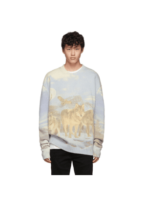 Amiri Blue and Multicolor Wolves Sweater