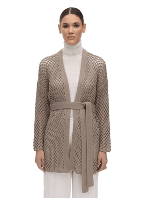 Belted Cashmere Knit Cardigan