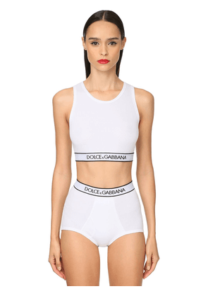Logo Band Cotton Jersey Sports Bra