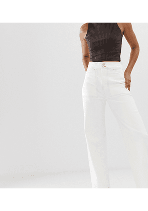 Weekday contrast stitching worker jeans in white