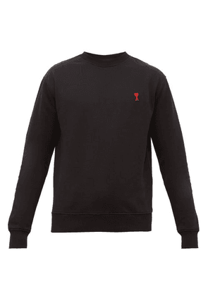 Ami - Logo-embroidered Cotton Sweatshirt - Mens - Black