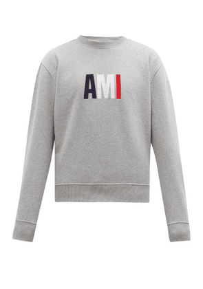 Ami - Logo Loop-back Cotton Sweater - Mens - Grey