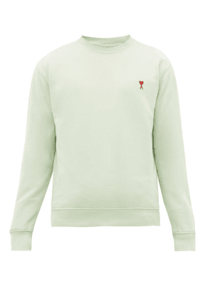 Ami - Ami De Caur Logo-patch Cotton Sweatshirt - Mens - Light Green