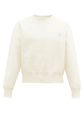 Ami - Logo-patch Cotton Fleece-back Jersey Sweater - Mens - Beige