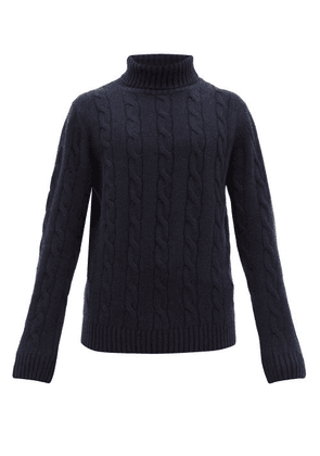 Thom Sweeney - Cable-knit Roll-neck Cashmere Sweater - Mens - Navy
