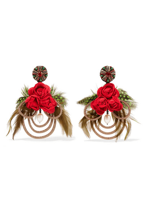 Ranjana Khan - Mangueira Gold-tone, Mother-of-pearl, Crystal And Feather Clip Earrings - one size