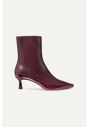 Wandler - Bente Matte And Patent-leather Ankle Boots - Burgundy