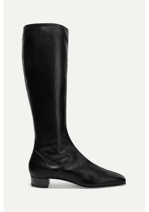 BY FAR - Edie Leather Knee Boots - Black