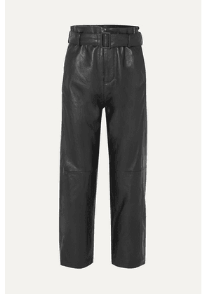 MM6 Maison Margiela - Belted Leather Straight-leg Pants - Black