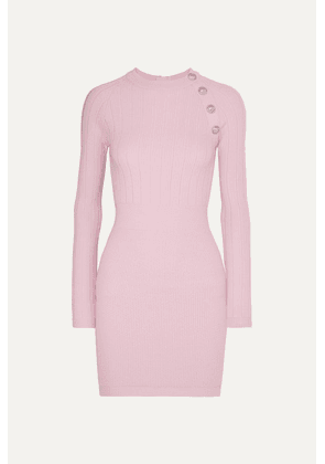 Balmain - Button-embellished Wool-blend Mini Dress - Pink
