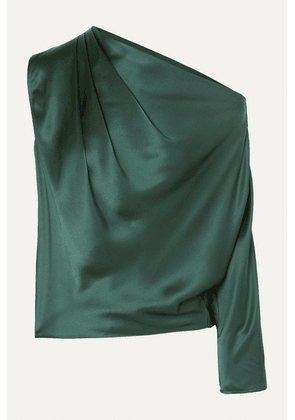 Michelle Mason - One-sleeve Draped Silk-charmeuse Top - Forest green