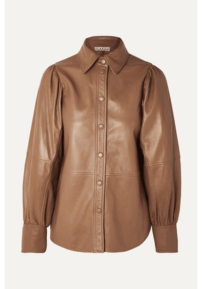 GANNI - Leather Shirt - Beige