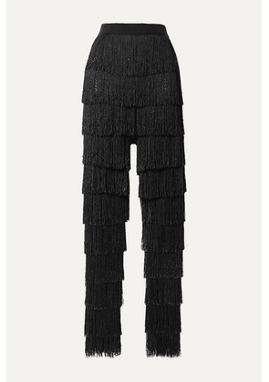 By Malene Birger - Zelma Fringed Fishnet Slim-leg Pants - Black