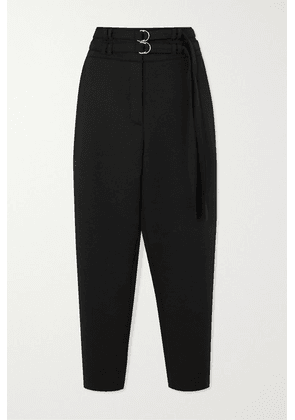 Proenza Schouler - Belted Wool-blend Tapered Pants - Black