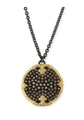 Old World Diamond Pave Disc Pendant Necklace
