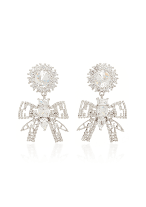 FALLON Rhodium And Crystal Bow Drop Earrings