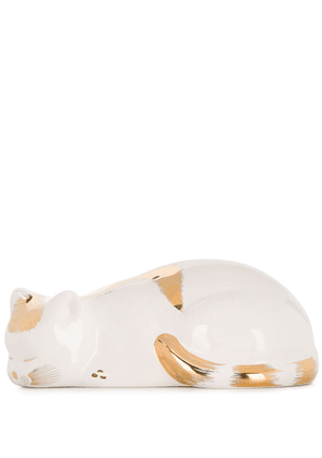 Fornasetti CAT STRIATO GOLD/WH CROUCHED - White