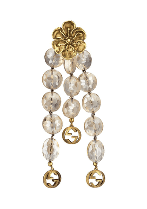 Gucci floral detail beaded drop earrings - GOLD