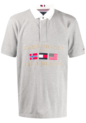 Tommy Hilfiger embroidered flags polo shirt - Grey