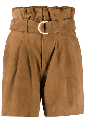 P.A.R.O.S.H. suede paperbag waist shorts - Brown