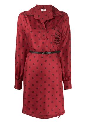 Fendi FF motif print shirt dress - Red