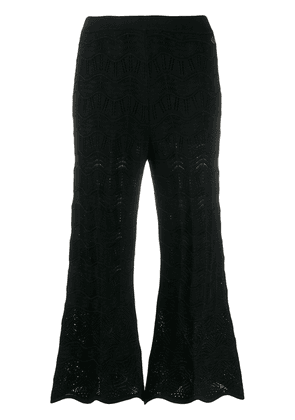 Twin-Set embroidered cropped trousers - Black