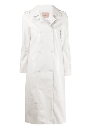 Twin-Set croc embossed trench coat - White