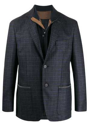 Corneliani layered style tartan patterned blazer - Blue