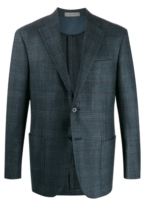 Corneliani knitted tartan patterned blazer - Blue