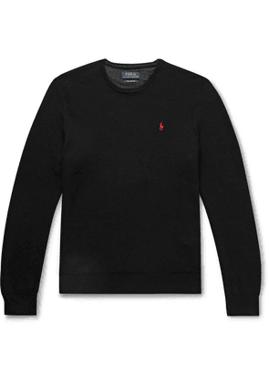 Polo Ralph Lauren - Logo-embroidered Honeycomb Cotton Sweater - Black