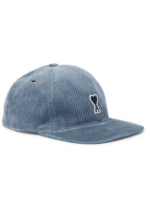 AMI - Logo-appliquéd Cotton-corduroy Baseball Cap - Blue