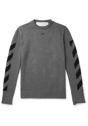 Off-White - Cotton-jacquard Sweater - Gray
