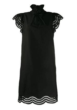 P.A.R.O.S.H. Cojourd embroidered wavy details dress - Black