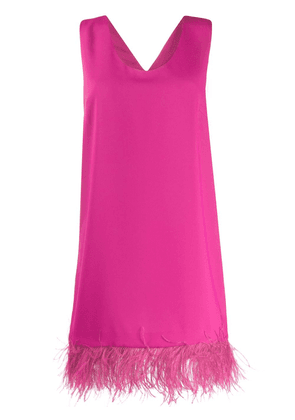 P.A.R.O.S.H. feather trimmed mini dress - PINK