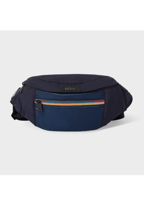 Men's Navy Canvas Bum Bag With 'Artist Stripe' Trims