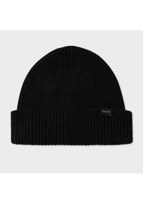 Men's Black Cashmere-Blend Beanie Hat