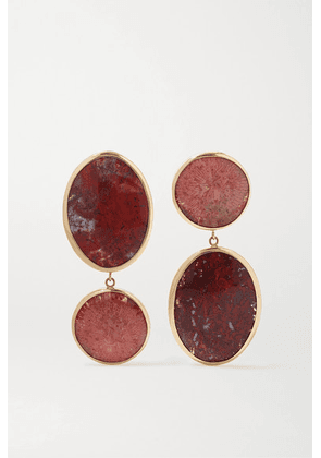Melissa Joy Manning - + Net Sustain 14-karat Gold And Sterling Silver, Coral And Jasper Earrings - one size