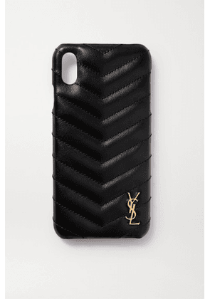 SAINT LAURENT - Embellished Quilted Leather Iphone Xs Max Case - Black