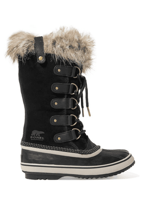 Sorel - Joan Of Arctic Faux Fur-trimmed Waterproof Suede And Rubber Boots - Black